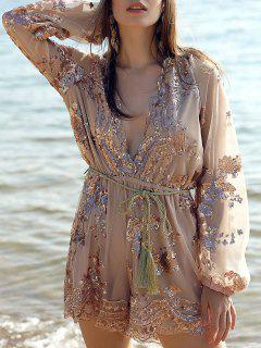 Sequins Plunging Neck Long Sleeve Waisted Romper - Champagne Xs