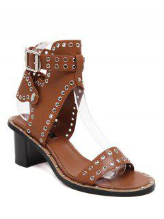 Eyelet PU Leather Chunky Heel Sandals - Brown 36