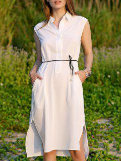 Shirt Collar Belted Dress - White S