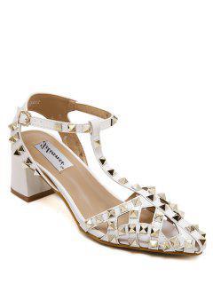 Rivet Closed Toe T-Strap Sandals - White 36