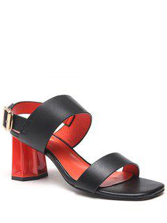 Chunky Heel Buckle Solid Color Sandals - Black 36