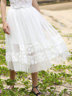 Empalmado Blanco Del Cordón De La Falda De Cintura Alta - Blanco S
