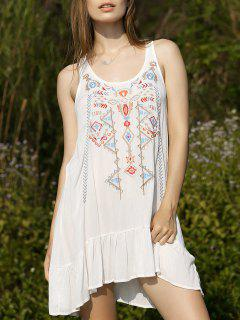 Embroidery Scoop Neck Flouncing Dress - White S