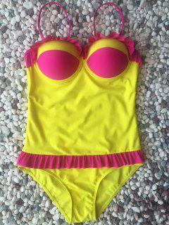 Hit Color Ruffles Cami One-Piece Swimwear - Yellow L