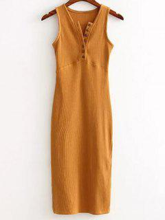 Side Slit Ribbed Dress - Earthy