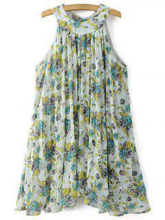 Pleated Flowy Chiffon Dress - Light Green S