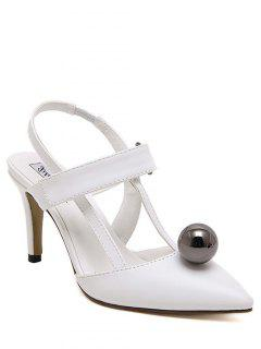 Pointed Toe Bead Slingback Pumps - White 36