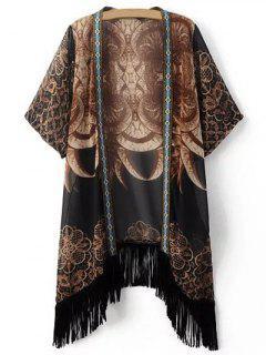 Printed Fringe Kimono - Brown