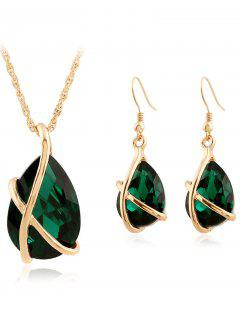Faux Crystal Teardrop Cross Necklace And Earrings - Green