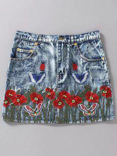 Embroidered Mini Skirt - Light Blue S