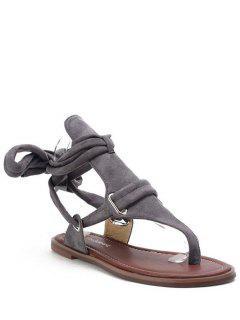 Flock Lace-Up Flat Heel Sandals - Gray 36