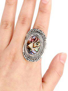 Faux Gem Embossed Oval Ring - Silver