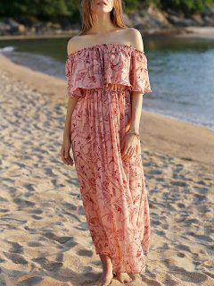 Off The Shoulder Floral Beach Maxi Dress - Pink S