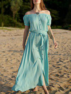 Bouton Dress Turquoise Avant - Turquoise L