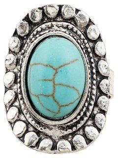 Faux Turquoise Oval Ring - Silver