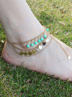 Multilayer Bead Sequins Tassel Anklet - Golden