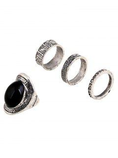 Faux Gem Embossed Alloy Rings - Black