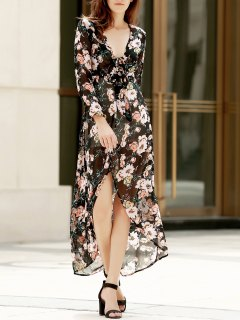 Plunging Neck Floral Print Tie-Up Slit Dress - M