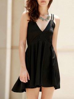 Solid Color Spaghetti Strap Cross Dress - Black Xl