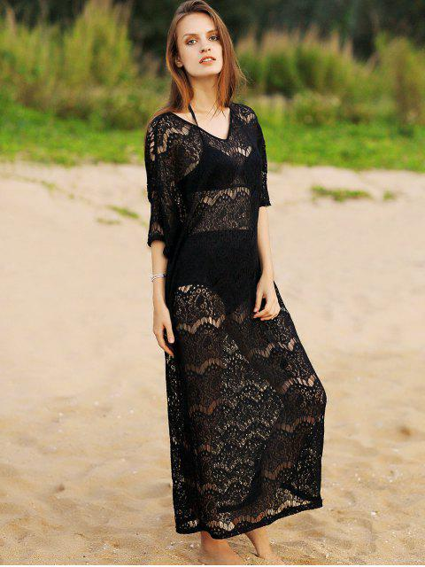 affordable Hollow Out V-Neck 3/4 Sleeve Lace Cover Up - BLACK ONE SIZE Mobile