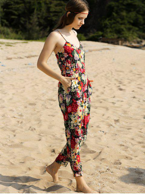 latest Red Floral Print Cami Jumpsuit - RED XL Mobile
