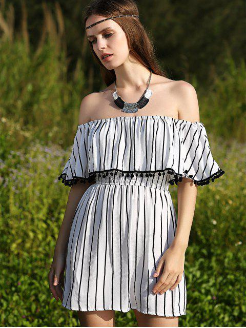 unique Striped Short Sleeve Off The Shoulder Dress - WHITE S Mobile