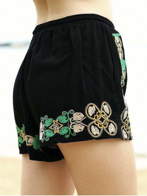 Shorts brodés jambe large taille élastique - Noir S Mobile