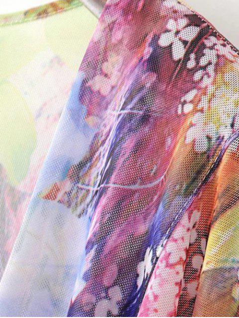 Cardigan à épissure 3/4 à manches 3/4 - Multicolore Taille Unique(S'adap Mobile