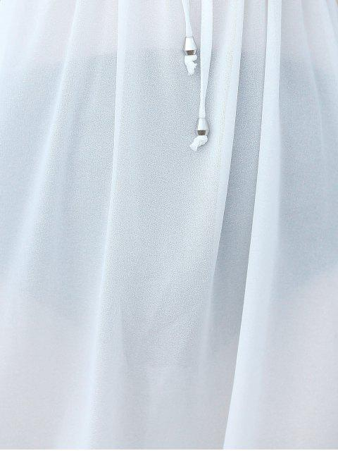 womens Pure Color Plunging Neck Half Sleeve Chiffon Dress - WHITE ONE SIZE(FIT SIZE XS TO M) Mobile