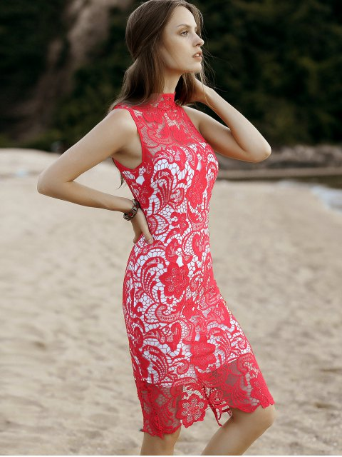 women's Cut-Out Back Midi Lace Dress - RED L Mobile
