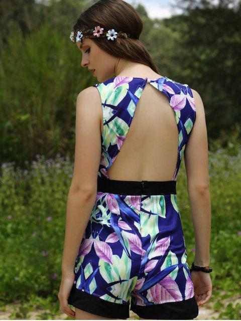 Plunging Neck Hollow Back Romper - Multicolore XL Mobile