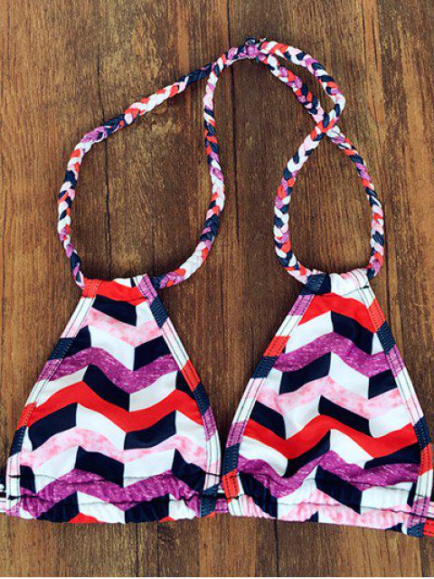 latest Wavy Check Halter Bikini Set - COLORMIX M Mobile