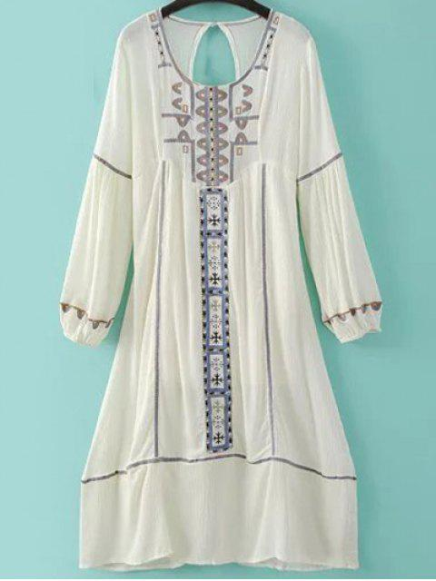 hot Embroidery Scoop Neck Back Cut Out Dress - MILK WHITE L Mobile