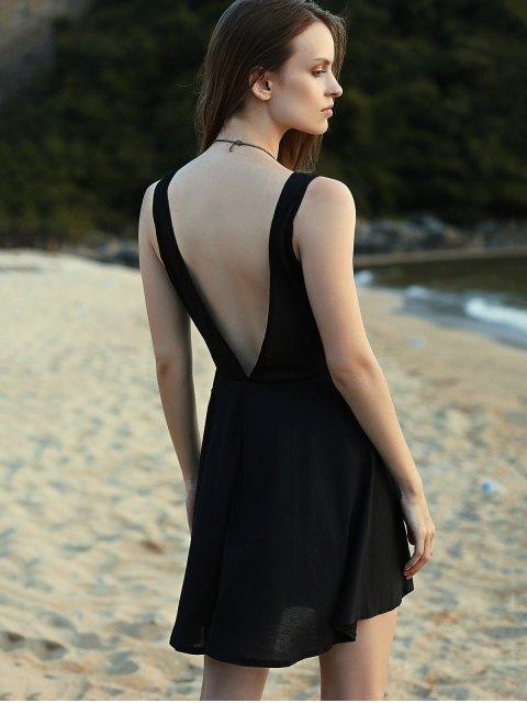 new Crossed V-Neck Sleeveless Solid Color Dress - BLACK XL Mobile