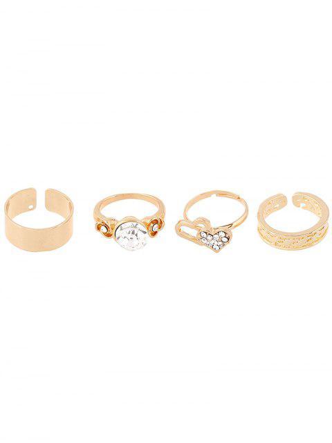 trendy Rhinestone Heart Rings and Earrings - GOLDEN  Mobile
