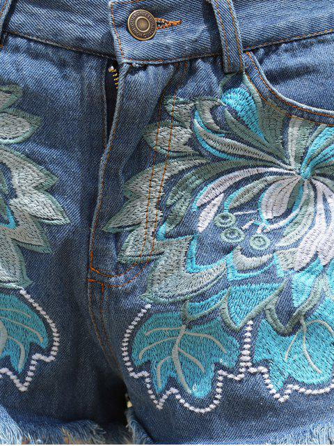 online Embroidery Pockets Denim Shorts - ICE BLUE M Mobile