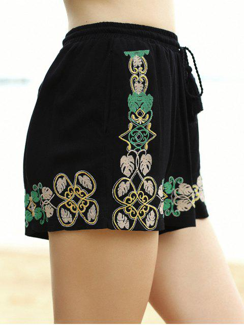 hot Embroidery Elastic Waist Wide Leg Shorts - BLACK M Mobile
