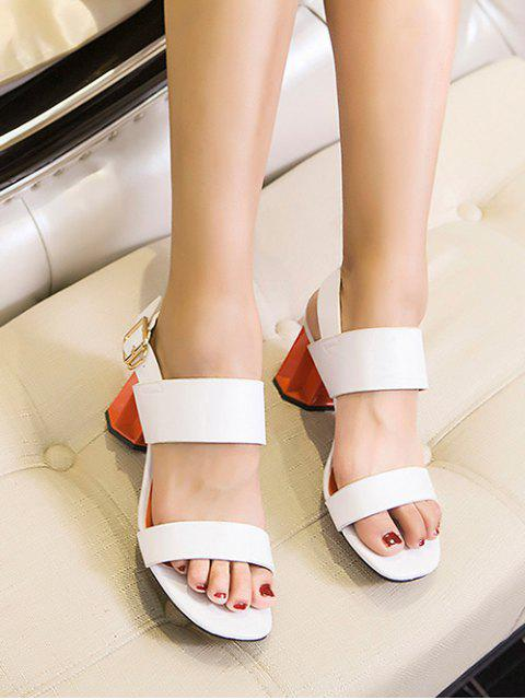 fashion Chunky Heel Buckle Solid Color Sandals - WHITE 37 Mobile