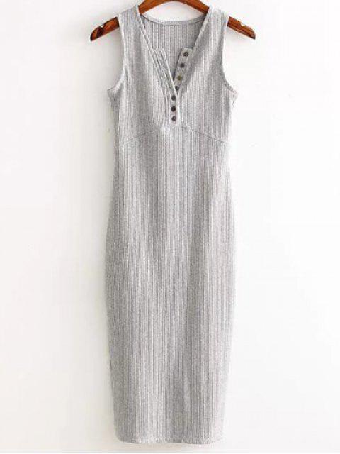 Robe côtelée avec fente latérale - Gris Clair TAILLE MOYENNE Mobile