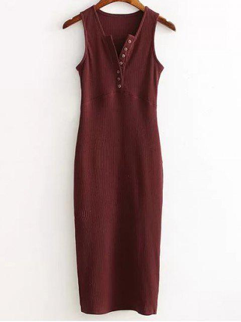 affordable Side Slit Ribbed Dress - WINE RED ONE SIZE Mobile