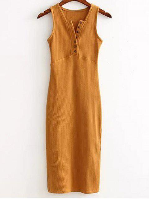 buy Side Slit Ribbed Dress - EARTHY ONE SIZE Mobile