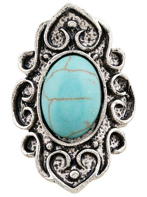 buy Faux Turquoise Embossed Flame Ring - SILVER  Mobile