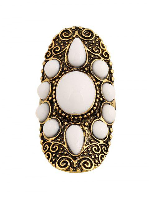 ladies Faux Gem Oval Embossed Ring - GOLDEN  Mobile