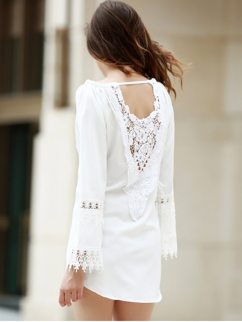 outfit White Lace Splicing Backless Dress - WHITE M Mobile