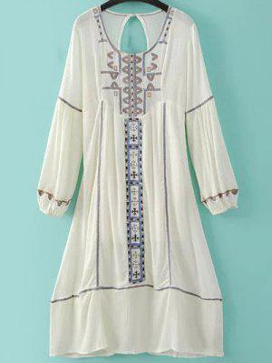 Embroidery Scoop Neck Back Cut Out Dress - Milk White L