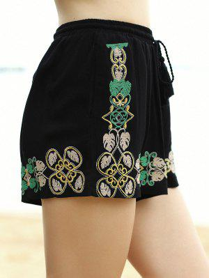 Embroidery Elastic Waist Wide Leg Shorts - Black L