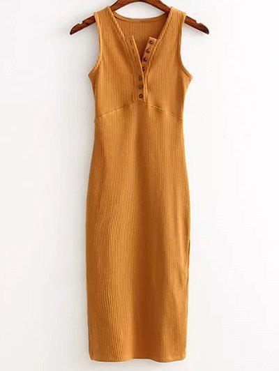 Side Slit Ribbed Dress 184048003