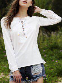 Lace Up Round Neck Long Sleeve Chiffon Blouse - White Xl