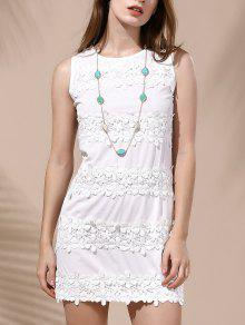 انقطاع أكمام الرباط تقسم اللباس الأبيض للنساء - أبيض M