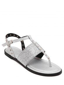 Buy Sequined Rivet Flat Heel Sandals - SILVER 37